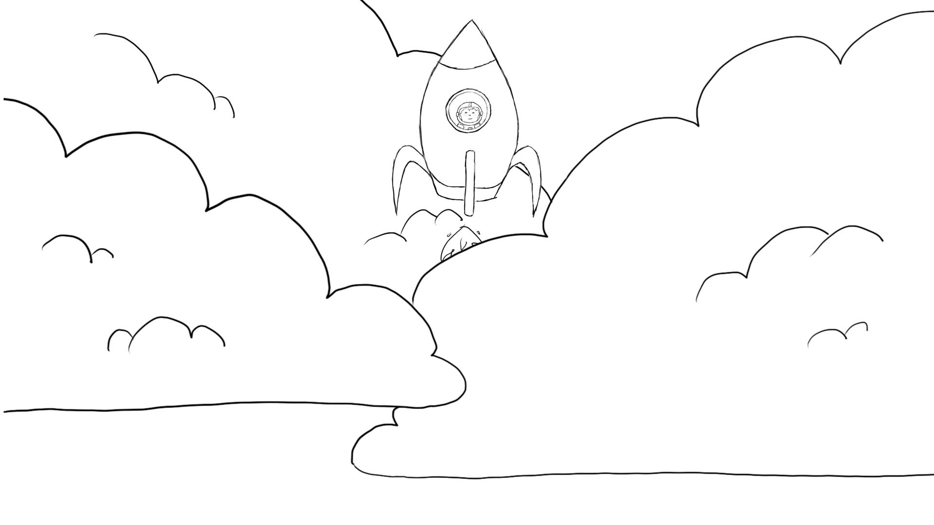 Ein kleiner gezeichneter Astronaut fliegt in seiner Rakete in das All