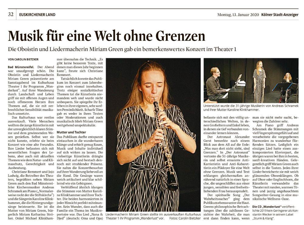 Artikel aus dem Kölner Stadtanzeiger über Miriam Hanika.